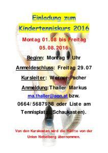 Einladung zum Kindertenniskurs 2016