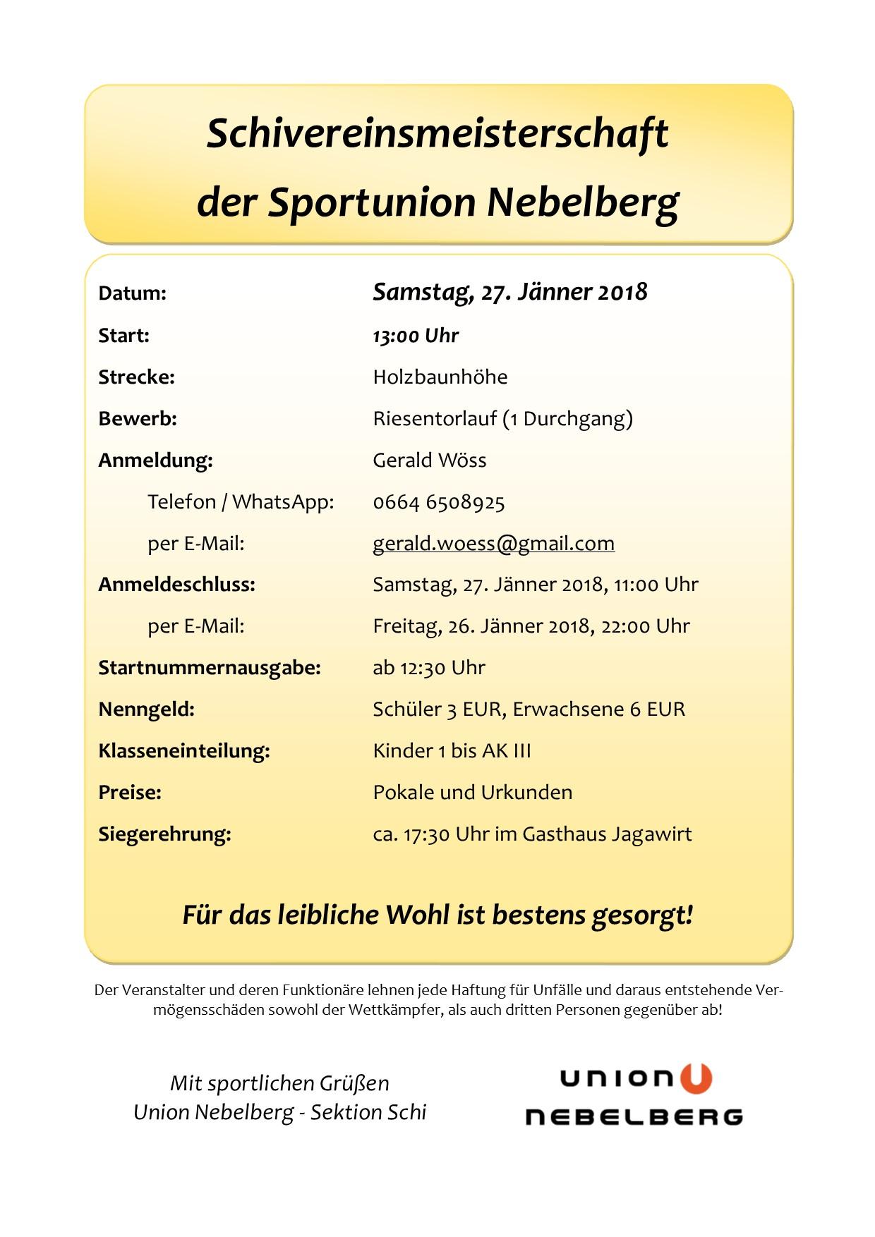 Ausschreibung Schivereinsmeisterschaft 2018